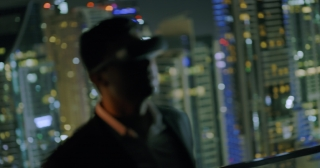 Young Entrepreneur Using VR Headset Digital Buildings Skyline Urban Landscape Futuristic Gamer Night City Lights Slow Motion Red Epic 8k