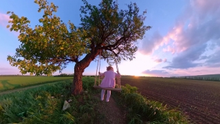Rear View Of Pretty Girl Child Playing On A Wooden Swing Looking At Golden Sunset Dream Happy Family 360 Vr Footage First Person 8k Slow Motion