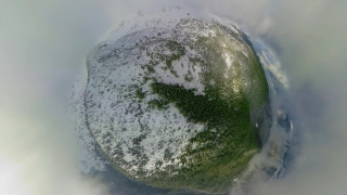 Drone Aerial Shot 360 Flying Over Distorted Misty Mountains During Cold Day Vacations Winter Nature Lifestyle 360 Wide Angle Slow Motion 8k Hdr