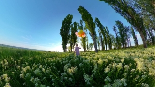 Child Tracking Shot From Behind Having Fun Outdoors In The Spring Little Girl Holding Balloons Quarantine Nature Fun Happy Childhood 360 Vr Footage First Person 8k Slow Motion