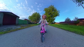 Cute Female Toddler Riding Bicycle Playing Outside Sunset Quarantine Nature Fun Family Travel 360 Vr Footage First Person 8k Slow Motion