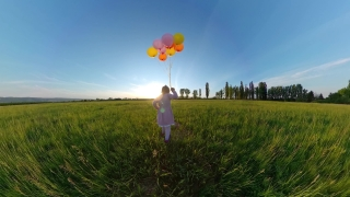 Cute Female Toddler Having Fun With Balloons Outdoors In The Spring Holiday Family Travel 360 Vr Footage First Person 8k Slow Motion