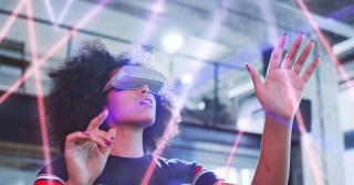 Young African Multicultural Confident Woman Enjoying Virtual Reality World Gaming And Entertainment New Technologies Augmented Reality Mixed Reality VR Technologies Concept Slow Motion 8k RED