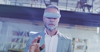 Close-up Shot Of Handsome Man Scientist Wearing Virtual Reality Headset Exploring Reality Immersive Technologies XR VR AR MR Hybrid Reality New Technologies Future Slow Motion 8k RED