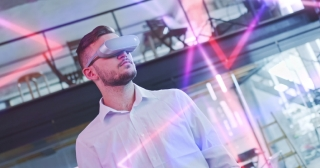 Young Handsome Man Using Virtual Reality Headset Training Session Entertainment Immersive Technologies Augmented Reality MR Technologies Futuristic Slow Motion 8k RED