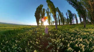Pretty Female Toddler Running In The Park At Sunset With Balloons Quarantine Nature Fun Happy Family 360 Vr Footage First Person 8k Slow Motion