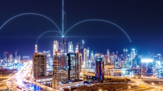 Smart City Aerial Drone Footage Hologram Information Arches Forming During Network Communication Futuristic Network and Technology 5G Drone Low Light 4k