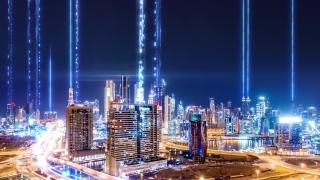 Aerial Drone Flight Hyperlapse Of Panoramic Skyline Of Metropolitan City Business Network Formation Futuristic Technology Ai 5g Network Drone Low Light 4k
