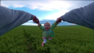 Beautiful Little Girl Having Fun During Sunset Vacation Father Spinning Little Girl Happy Childhood 360 Vr Footage First Person 8k Slow Motion