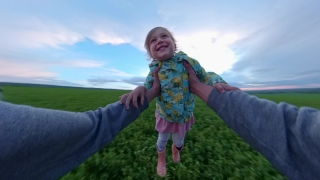 POV Father Spinning Young Daughter During Sunset In The Park At Sunset Vacation Happy Childhood 360 Vr Footage First Person 8k Slow Motion
