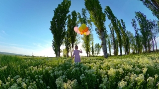 Cute Female Toddler Enjoying Sunset With Ballons In The Park In The Summer Nature And Exploration Happy Childhood 360 Vr Footage First Person 8k Slow Motion