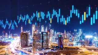 Aerial View Of Dubai Skyline With Animated 3D Hologram Financial Information Stock Market Cryptocurrency Market Growth Investment And Innovation Technology Drone Low Light 4k