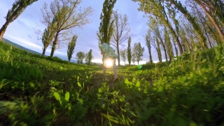 Happy Child Playing In The Field During Quarantine Vacation Happy Family 360 Vr Footage First Person 8k Slow Motion