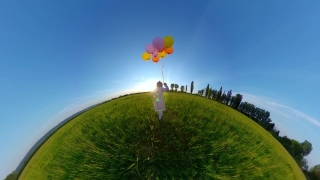 Child Tracking Shot From Behind Having Fun Outdoors Looking At Golden Sunset Lock Down Fun Happy Family 360 Vr Footage First Person 8k Slow Motion