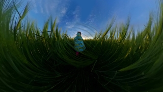 Cute Little Girl Playing Outside Looking At Golden Sunset Outdoor Fun Family Travel 360 Vr Footage First Person 8k Slow Motion