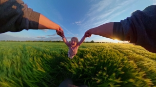 Pov Father Hands Spins Young Daughter During Sunset Travel Restrictions Happy Family 360 Vr Footage First Person 8k Slow Motion