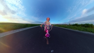 Beautiful Toddler Girl Having Fun Riding Bike During Vacation Travel Restrictions Happy Family 360 Vr Footage First Person 8k Slow Motion
