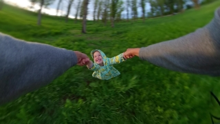 POV Cute Little Girl Having Fun During Sunset Vacation Father Spinning Little Girl Playing Outside In The Spring Outdoor Fun Family Travel 360 Vr Footage First Person 8k Slow Motion