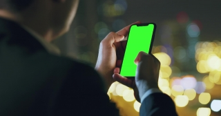 Successful Young Man Using Smartphone At City Skyline Urban Landscape Instafamous Night Downtown Slow Motion Red Epic 8k