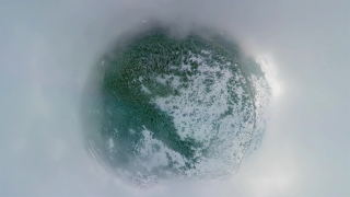 Drone Aerial Shot 360 Flying Over Distorted Misty Forest During Winter Day Tourism Winter Nature Lifestyle 360 Wide Angle Slow Motion 8k Hdr