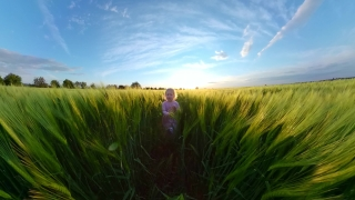 Cute Little Girl Running In The Park Enjoying Sunset During Vacation Nature And Exploration Happy Family 360 Vr Footage First Person 8k Slow Motion
