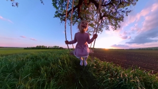 Cute Female Toddler Playing On A Wooden Swing Looking At Golden Sunset Dream Happy Childhood 360 Vr Footage First Person 8k Slow Motion