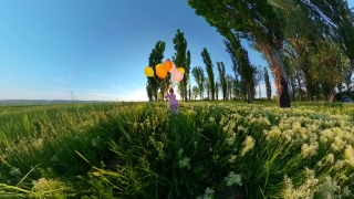 Rear View Of Young Girl Having Fun With Balloons During Vacation Holiday Happy Childhood 360 Vr Footage First Person 8k Slow Motion