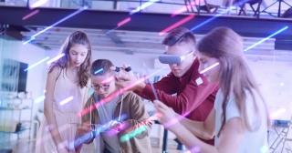 Kids Enjoying Virtual Reality Games VR Headset Online Learning VR Education Digital Classroom Alternative Education Concept Slow Motion 8k