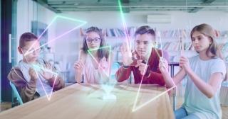 Students Developing Teamwork Skills During Classroom Brainstorming Session Online Modern Education 3D Hologram Digital Classroom Concept Slow Motion 8k