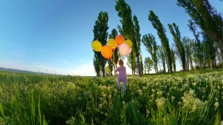 Cute Female Toddler Holding Balloons Having Fun Outdoors At Sunset Love Happy Family 360 Vr Footage First Person 8k Slow Motion
