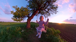 Mother And Cute Female Toddler Playing With A Wooden Swing Enjoying Sunset During Vacation Dream Happy Family 360 Vr Footage First Person 8k Slow Motion