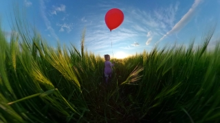 Beautiful Little Girl Having Fun With Balloons During Vacation Travel Restrictions Happy Family 360 Vr Footage First Person 8k Slow Motion