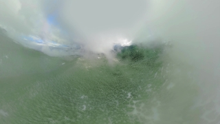 Panoramic View 360 Flying Over Misty Mountains During Cloudy Day Tourism Winter Nature Lifestyle 360 Wide Angle Slow Motion 8k Hdr