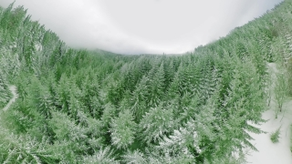 Aerial View 360 Flying Over Misty Mountains During Cold Day Tourism Winter Nature Lifestyle 360 Wide Angle Slow Motion 8k Hdr