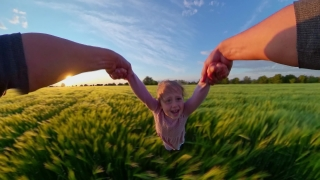 Pov Father And Child Playing In The Field During Sunset Holiday Happy Childhood 360 Vr Footage First Person 8k Slow Motion