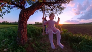 Cute Female Toddler Playing On A Wooden Swing Enjoying Sunset During Vacation Dream Happy Childhood 360 Vr Footage First Person 8k Slow Motion