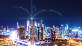 Digital City Aerial Drone Footage With Hologram Information Arches Wireless Communication Futuristic Business Network and Technology 5G Drone Low Light 4k