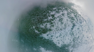 Drone Aerial Shot 360 Flying Over Distorted Misty Mountains During Winter Day Vacations Winter Nature Lifestyle 360 Wide Angle Slow Motion 8k Hdr