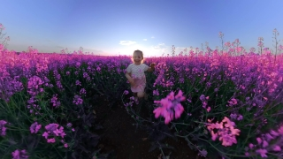 Beautiful Toddler Girl Having Fun During Quarantine Holiday Happy Childhood 360 Vr Footage First Person 8k Slow Motion