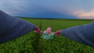 Father Holding Spinning Daughter In Wheat Field Enjoying Sunset During Vacation Quarantine Nature Fun Happy Family 360 Vr Footage First Person 8k Slow Motion