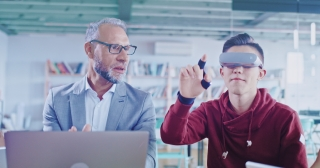 Teacher And Students Interacting With 3D Virtual Reality Physics Course Quantum Mechanics Theory Environment Using Augmented Reality Software Advanced Education VR XR AR MR Slow Motion 8k