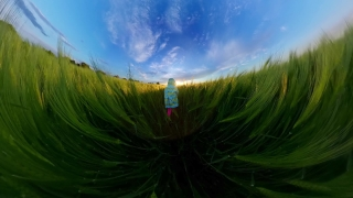 Cute Female Toddler Playing Outside In The Spring Lock Down Fun Family Travel 360 Vr Footage First Person 8k Slow Motion