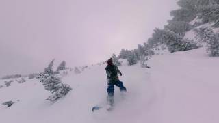 Man Riding On Snow Extreme Snowboarding Down A Misty Mountain Danger Seeking Lifestyle Action Extreme Snow Adventure 360 Wide Angle Slow Motion 8k Hdr