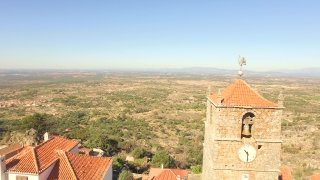 Landscape Aerial Guaita Tower Historic Drone Travel Portugal City Building Europe Tourism 4K Famous History Architecture Nature Sky Clock Bell