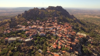 Community Mountain Aerial View Travel Landscape Nature Residential Dwelling Crowded Trees Historic Drone Portugal Europe Tourism 4K Famous History Roof