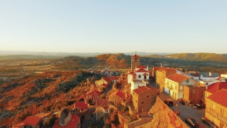 Drone Guaita Tower Historic Mountain Landscape Travel Portugal City Europe Tourism 4K Aerial Famous History Architecture Nature Residential Sky