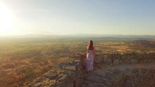 Tourist Woman Castle Walking Surrounding Wall Portugal Fort Historic Place Vacation Footage Drone View Beautiful Landscape Sunset Famous Travel Tourism