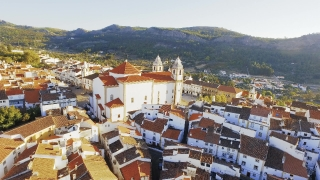 Aerial Church Tower Drone Community Mountain Sunlight Landscape Travel Dwelling Crowded Residential Historic Europe Famous Roof Tourism Portugal 4K Nature