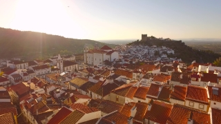 Footage Aerial Church Tower Sunlight Drone Community Mountain Landscape Travel Portugal Residential Crowded Famous Roof Historic Europe 4K Nature Tourism