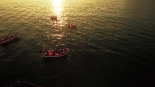 Aerial Boat Travel Water Sunlight Reflection Rippled Transportation Footage Drone Nature Sunset Sea Portugal